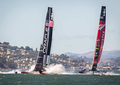 Oracle Team USA recovers from a near disaster after burying its hulls at the start of the final race of the 34th Americas Cup on San Francisco Bay