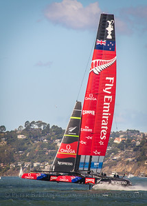 Emirates New Zealand rides on foils in an upwind tack in the final race of the 34th Americas Cup on San Francisco Bay