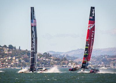 Oracle Team USA falls off its foils suddenly and buries its hulls in a near disaster at the start of the final race of the 34th Americas Cup on San Francisco Bay