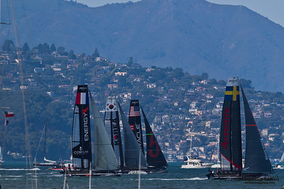 SAN FRANCISCO, CA - OCTOBER 7: The America's Cup World Series sailing fleet races during Fleet Week in San Francisco, CA on October 7, 2012