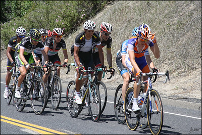 Lead group - one of the six King of the Mountain climbs south of Mariposa, Ca (Highway 49).