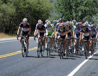 Peloton - one of the six King of the Mountain climbs south of Mariposa, Ca (Highway 49).