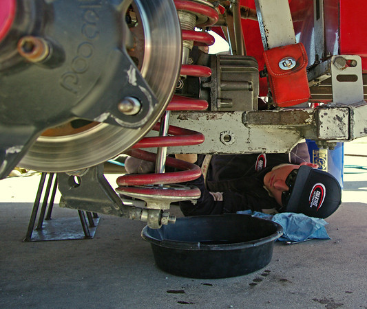 Series rookie J. P. Crabtree changes the rear end gear in his CRA Late Model Sportsman prior to qualifying on opening day at Anderson Speedway.