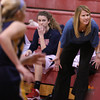 MARY SCHWALM/Staff photo Central Catholic head coach Sue Downer coaches her team during their game against Andover in Lawrence.  1/9/14