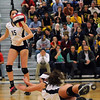 CARL RUSSO/Staff photo. Andover high was defeated by Newton North high in state volleyball semifinals Tuesday night. Andover's Marcela Familiar-Bolanos dives to keep the ball in play. 11/13/2012.