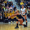 CARL RUSSO/Staff photo. Andover high was defeated by Newton North high in state volleyball semifinals Tuesday night. Andover's Sarah Weimer returns a serve. 11/13/2012.
