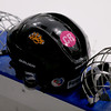A CR decal in memory of Colleen  Ritzer adorns a Beverly/Danvers helmet.  Photo by Mary Schwalm