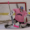 Andover goalie Meghan Johnson makes a save on a shot attempt from Beverly/Danvers during their hockey game in Andover.  Andover won, 4-3.  Photo by Mary Schwalm