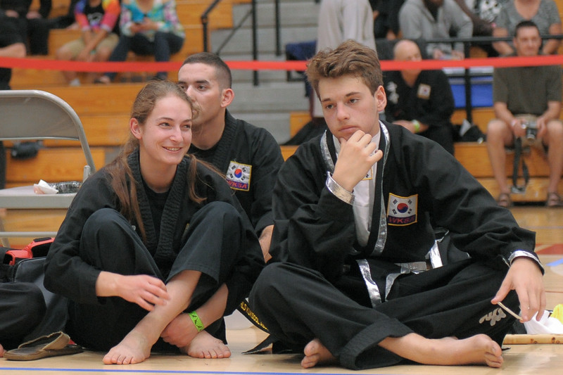 Lexie and Charlie wait to compete at the 2016 WKSA Pacific Tournament, Folsom, CA.  April 16, 2016.