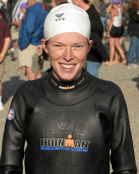 Ok so I wore Ben's wetsuit and I don't have the muscles to fill it out.  I still look cute in a swim cap!