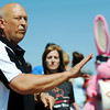 Globe/T. Rob Brown<br /> Major League Baseball Hall of Famer Cal Ripken Jr. speaks to Habitat for Humanity and Bunny Brigade volunteers Wednesday morning, April 18, 2012, in the 2400 block of South Wall Avenue, Joplin. Ripken's charitable organization Cal Ripken Sr. Foundation (named for his father), Habitat for Humanity and the Bunny Brigade with Energizer joined forces to replace one of the homes destroyed by the May 22, 2011, tornado.
