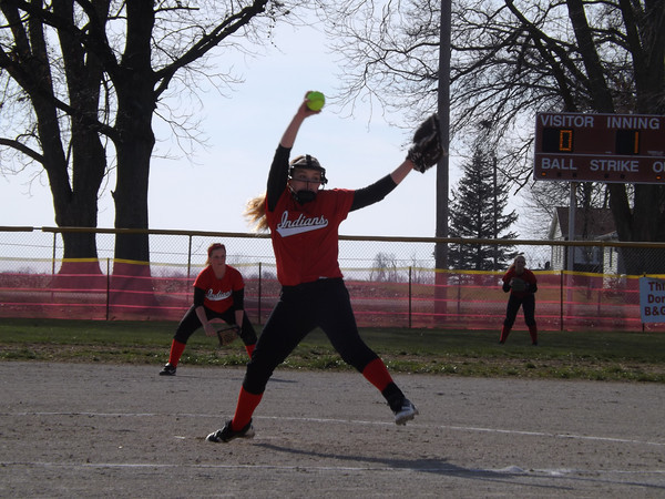 Neoga's Bayley Neece winds up and prepares to deliver a pitch against the Ramsey Rams in Neoga.