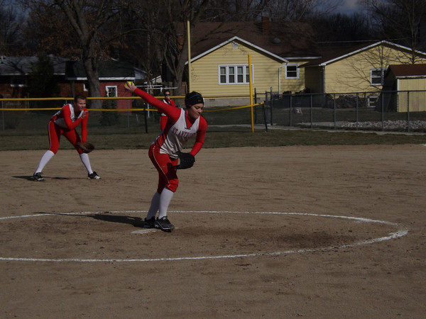 St. Anthony's Makayla Walsh winds up for a pitch in the Lady Bulldogs' 21-0 victory of Beecher City/Cowden-Herrick. Walsh pitched four shutout innings and also hit two home runs.