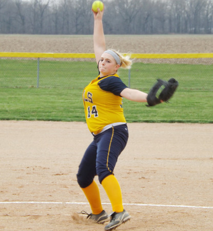 Windsor's Lindsay Floyd winds and prepares to deliver to a Dieterich batter in Dieterich. Floyd struck out 14 on the day.