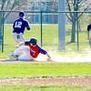 St. Anthony's Austin Bushur slides safely into third base while a throw comes in to South Central shortstop Dylan Smith (12).