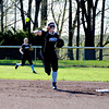 Cumberland shortstop Taylor Layton throws to first base during the first inning against Teutopolis.