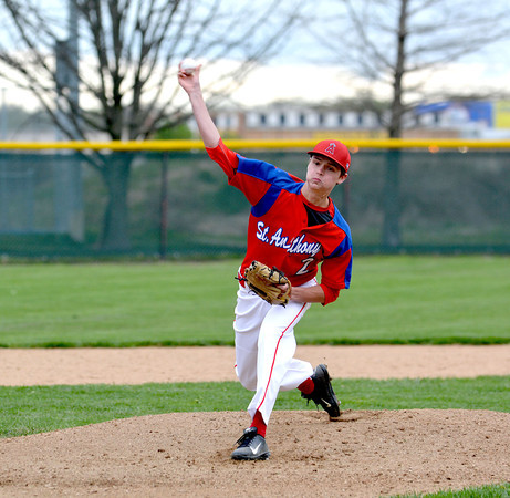 St. Anthony pitcher Zach Gardewine releases a pitch during the Bulldogs' 3-2 win over Windsor/Stew-Stras at Evergreen Park