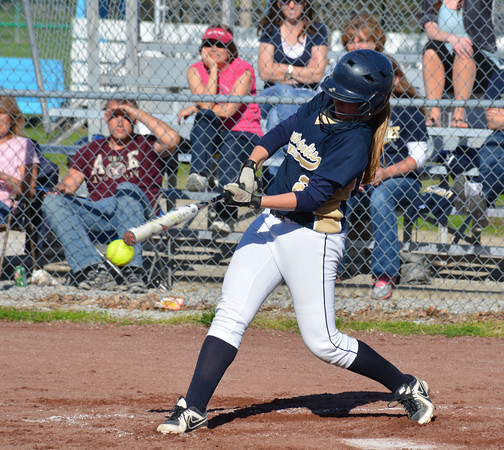 Teutopolis' Danielle Repking hits a line drive during the Shoes' 10-0 win at Cumberland.