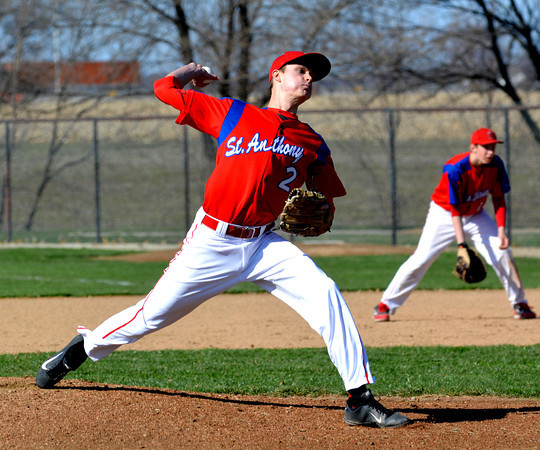 St. Anthony pitcher Zach Gardewine winds up and pitches in a win over South Central.