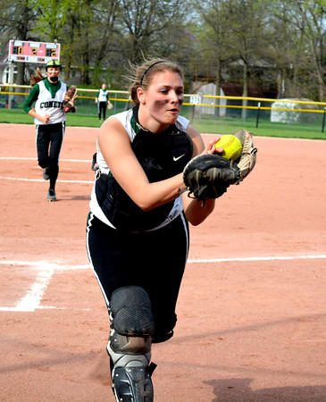 Stew-Stras/Windsor catcher Lindsay Burton reaches out and catches a foul pop up during a 13-11 win over St. Anthony.