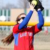 4-1-15<br /> Kokomo vs Northwestern softball<br /> Kokomo's Paige Ward catches the ball in outfield for an out.<br /> Kelly Lafferty Gerber | Kokomo Tribune