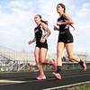 4-14-15<br /> Kokomo vs Western track<br /> Western's Nicole Hampshire and Taylor Walden in the 3200 M run.<br /> Kelly Lafferty Gerber | Kokomo Tribune