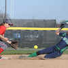Windsor/Stew-Stras' Megan Schlechte steals second as the ball comes in to Effingham shortstop Carsyn Fearday .