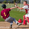 Neoga catcher Justin Yurs gets ready to make the forceout on Dieterich's Evan Bohnhoff at home plate.