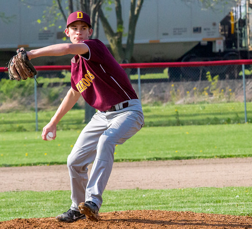 Dieterich's Paul Thoele prepares to deliver a pitch during a contest against Neoga. Thoele went all seven innings with no earned runs and just four hits allowed in the 5-2 win.