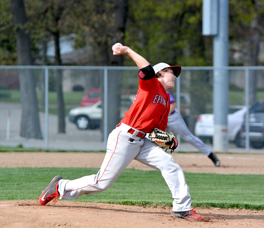 Effingham's Brett Koester delivers a pitch during a game against Casey-Westfield.