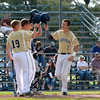 Teutopolis' Brock Bueker (7) smacks his helmet against Dylan Bloemer's (19) alongside Jason Kenter (center) after Bueker's solo home run against South Central .
