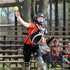 Altamont catcher Shelbi Stone throws out a runner at first base during the Lady Indians' win over Newton.
