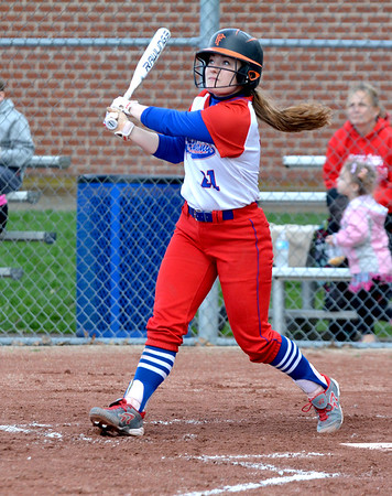 St. Anthony's Jenna Woltman watches her double in the first inning of a postponed game between St. Anthony and Cowden-Herrick/Beecher City.