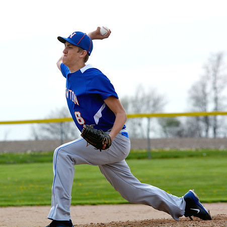 Newton pitcher Nick Cohorst pushes off the rubber during his delivery home in a win over Dieterich.