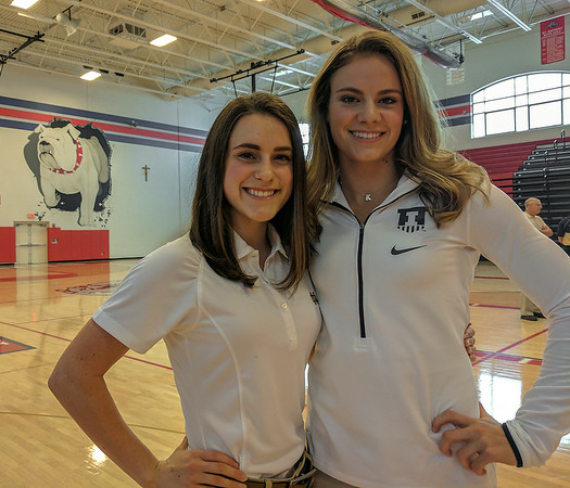 St. Anthony's Anna Sophia Keller, left, and Kristin Slaughter, right, signed their letter of intents to compete at major four-year universities. Keller will run cross country and track at the University of Notre Dame, while Slaughter will head north to Champaign-Urbana where she'll compete as a Fighting Illini.