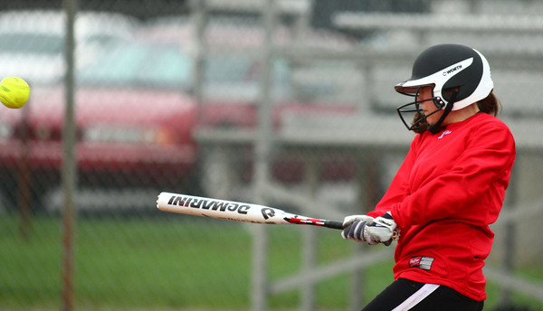 4-13-13<br /> Eastern and Taylor softball<br /> Hannah Mullinax bats for Taylor.<br /> KT photo | Kelly Lafferty