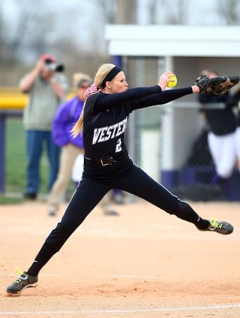 4-24-14<br /> Western vs. Northwestern softball<br /> Western's Erika Beeler pitches.<br /> Kelly Lafferty | Kokomo Tribune