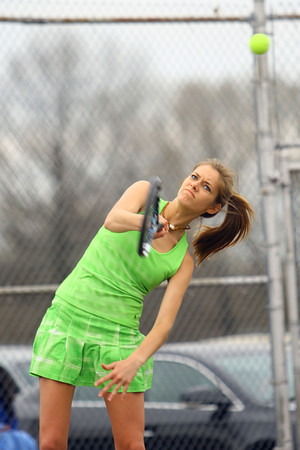 4-21-14   --- Eastern HS Tennis vs Northfield.  EHS's Riley Kanable playing #2 singles. -- <br />   Tim Bath | Kokomo Tribune