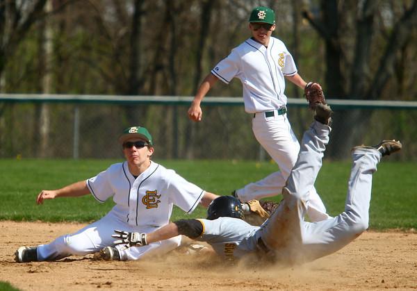 4-26-14<br /> Eastern vs. South Adams baseball<br /> Eastern's Alec Downing gets South Adams' Collin Affolder out at second.<br /> Kelly Lafferty | Kokomo Tribune