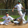 4-26-14<br /> Eastern vs. South Adams baseball<br /> Eastern's Alec Downing gets South Adams' Collin Affolder out at second.<br /> Kelly Lafferty | Kokomo Tribune