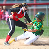 4-19-14<br /> Eastern vs. Taylor softball<br /> Taylor's Brie Boehler misses the catch at third while Eastern's Ally Oyler slides safely.<br /> Kelly Lafferty | Kokomo Tribune