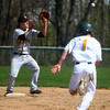 4-26-14<br /> Eastern vs. South Adams baseball<br /> Eastern's Alec Downing gets out at second as South Adams' Collin Affolder catches the throw.<br /> Kelly Lafferty | Kokomo Tribune