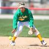 4-19-14<br /> Eastern vs. Taylor softball<br /> Eastern's Brooke Stout scoops up the ball.<br /> Kelly Lafferty | Kokomo Tribune