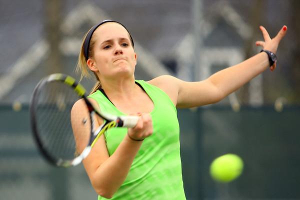 4-21-14   --- Eastern HS Tennis vs Northfield.  EHS's Courtney Clark playing #1 singles. -- <br />   Tim Bath | Kokomo Tribune