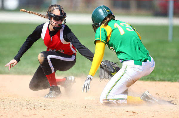 4-19-14<br /> Eastern vs. Taylor softball<br /> Eastern's Maddie Vint made it to second safely before Taylor's Savannah Delgado makes a tag.<br /> Kelly Lafferty   Kokomo Tribune