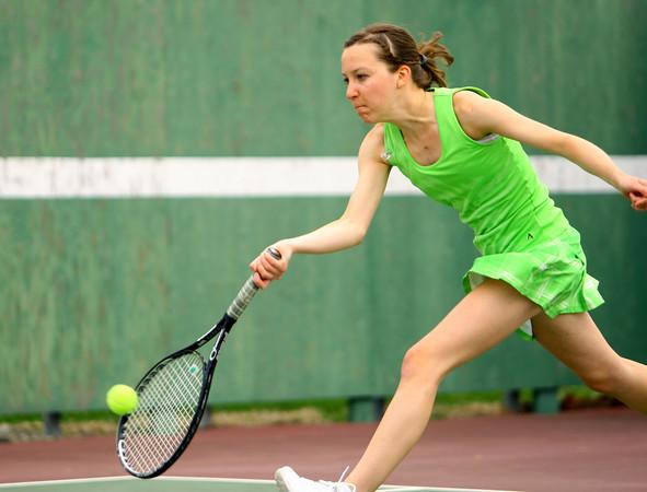 4-21-14   --- Eastern HS Tennis vs Northfield.  EHS's Claire Holkenbrink playing #3 singles. -- <br />   Tim Bath   Kokomo Tribune