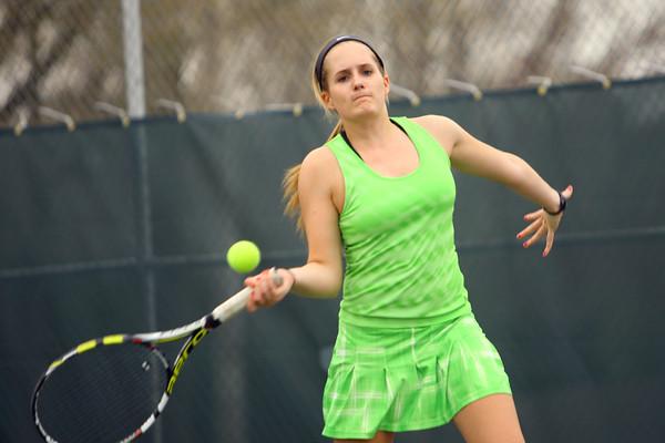 4-21-14   --- Eastern HS Tennis vs Northfield.  EHS's Courtney Clark playing #1 singles. -- <br />   Tim Bath   Kokomo Tribune