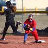 4-1-14<br /> Kokomo vs Lebanon softball<br /> Kokomo first baseman Miranda Ogle catches the ball, getting Lebanon's Jessica Weaver out.<br /> KT photo | Kelly Lafferty