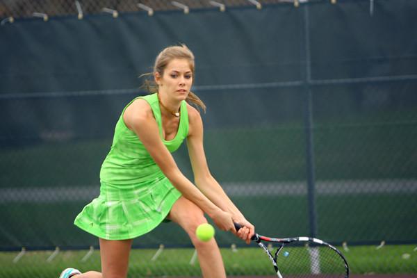4-21-14   --- Eastern HS Tennis vs Northfield.  EHS's Riley Kanable playing #2 singles. -- <br />   Tim Bath   Kokomo Tribune