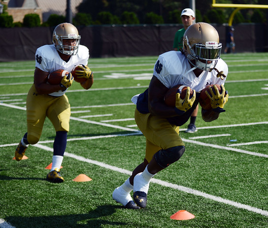 HALEY WARD | THE GOSHEN NEWS<br /> Running backs Tarean Folston (right) and Josh Anderson (left) run through drills back during Notre Dame football practice Wednesday.